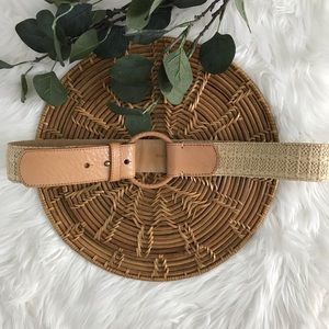Talbots leather and Straw belt
